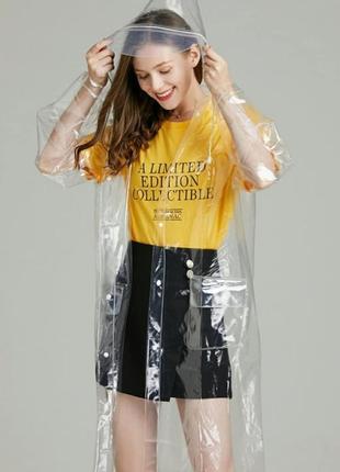 Женский прозрачный дождевик с карманами. жіночий прозорий дощовик з кишенями.