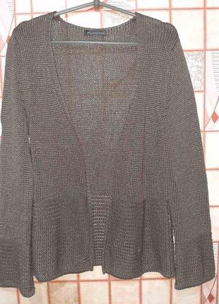 Серый вязаный кардиган накидка без застежки из пряжи с блестящей нитью cassis collection