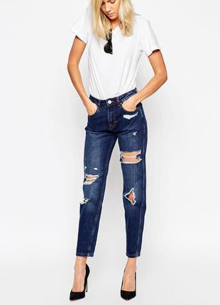 Мом джинсы с дырками asos м-ка