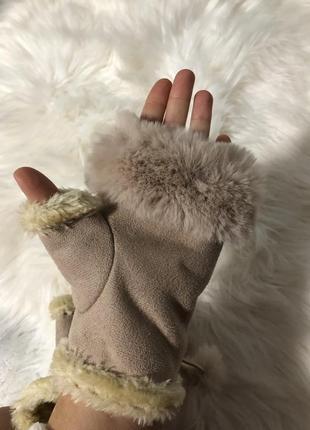 Митенки меховые перчатки без пальцев