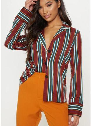 Модная полосатая рубашка с длинным рукавом