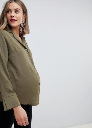 Рубашка, блуза цвета хаки большого размера 20uk или для беременных