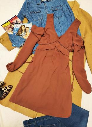 New look платье коричневое кирпичное терракотовое с открытыми плечами с поясом