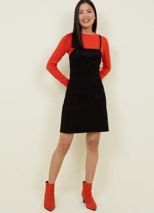 New look платье сарафан вельветовый чёрный новый большой оверсайз на молнии