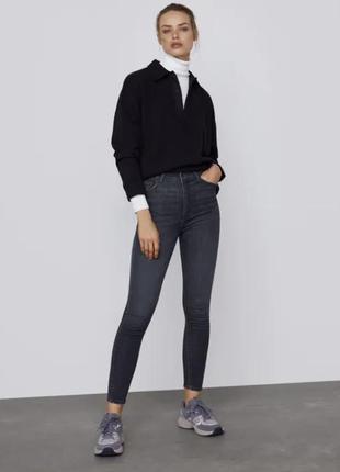 Черные джинсы с высокой посадкой zara woman, 34, 36, 38, 40, 44р, оригинал