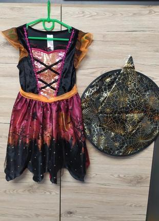 Детское платье, костюм ведьма, ведьмочка, смерть на 5-6 лет на хеллоуин