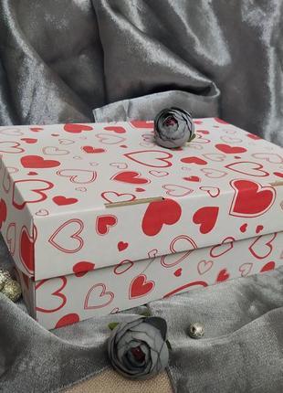 Коробка коробочка бокс для хранения подарка в сердечки