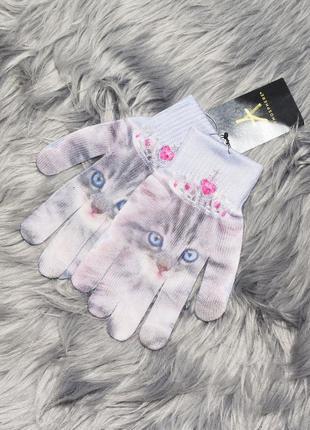 Новые перчатки с принтом кота atmosphere