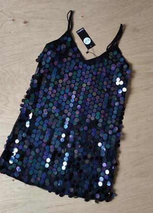Новое нарядное   вечернее  прямое платье в крупные  пайетки  boohoo