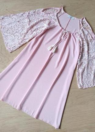 Вечернее платье свободного кроя с кружевными рукавами  trois ka