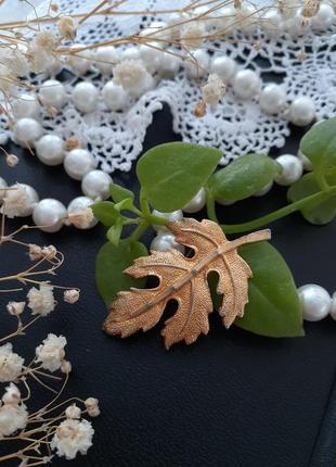 Золотой лист брошь винтаж металлическая браширование брошь брошка листочек