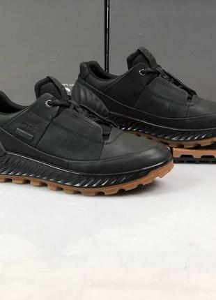 Мужские кожаные кроссовки полуботинки ecco exostrike, чёрные.