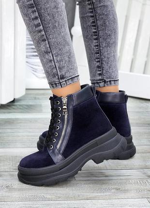 Ботинки зимние синие замша