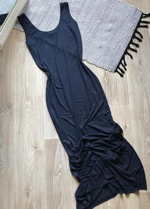 Синее макси платье майка по фигуре с разрезами marks&spencer