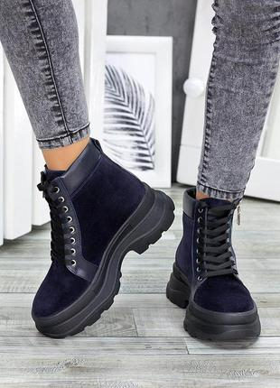 Ботинки синие замша демисезон