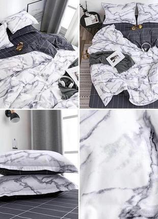 Двухсторонний комплект постельного белья мрамор евро 4 наволочки