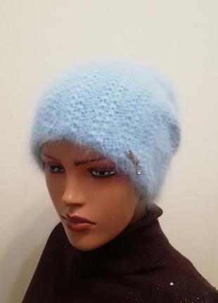 Классная тёплая шапка ангора небесный 56-58