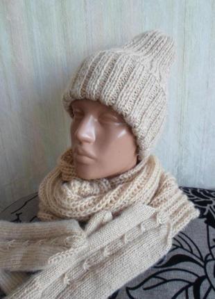 Комплект- шапка,снуд,варежки 56-58р