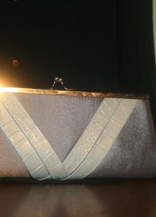 Стильный серо-серибристый атласный нарядный клатч