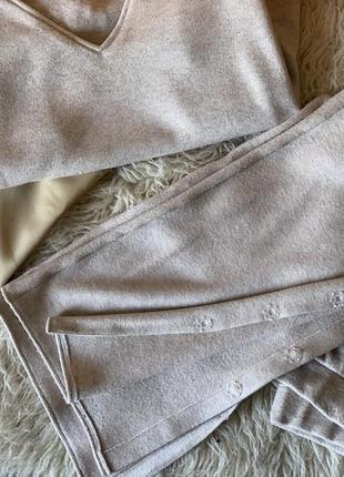 Костюм дизайнерский кашемировый клешные штаны разрезами