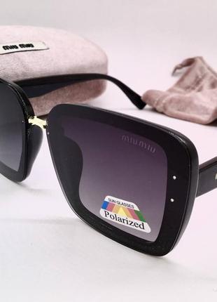 Miu miu очки женские солнцезащитные черные мерцающие квадраты