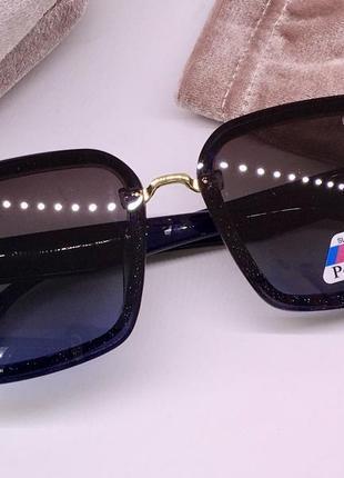 Miu miu очки женские солнцезащитные синие мерцающие квадраты