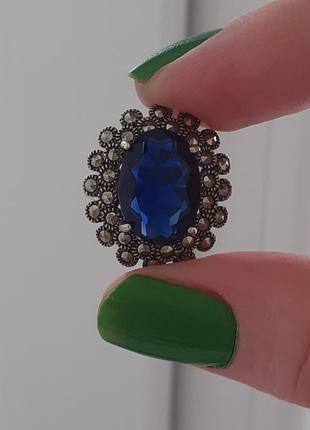 Серебряное кольцо с марказитами