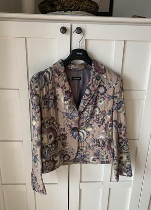 Пиджак шерстяной цветочный бежевый blacky dress berlin