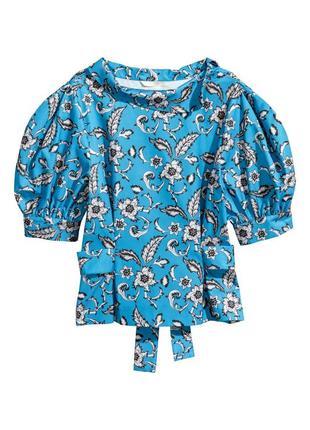 Блуза, топ, с цветами, рукава фонари, буфы, цветочный, объемные плечи, тренд 2021