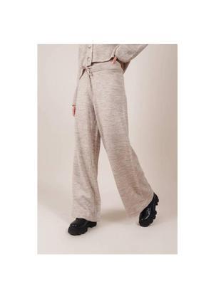 Вязаные брюки свободного фасона бежевые оверсайз спортивные штаны 5439