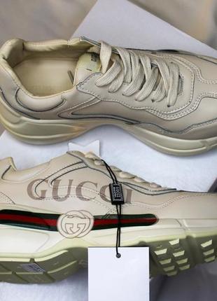 Женские кожаные кроссовки gucci