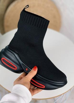 Кроссовки чёрные женские текстиль высокие на платформе