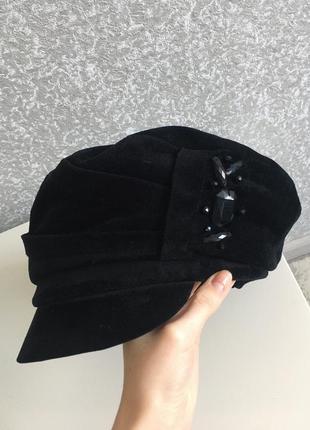 Модная кепи кепка шапка на зиму из натуральной замши