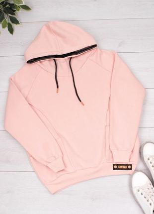Женское розовое худи на флисе