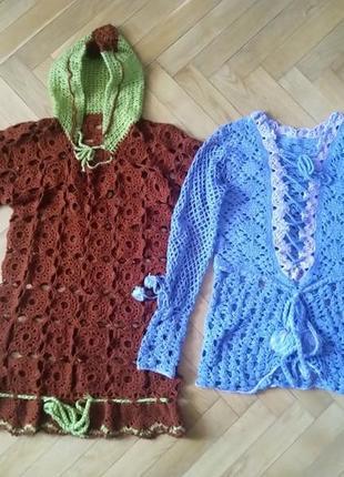 Hand made вязаное крючком платье-худи свитер кофта ( 2 штуки)