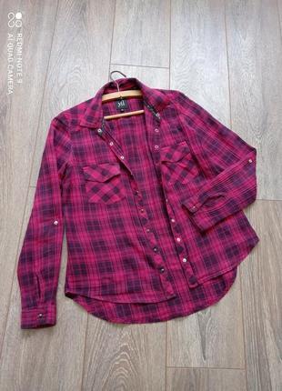 Клетчатая черная бордовая ( вишнёвая ) коттоновая рубашка прямого свободного  кроя