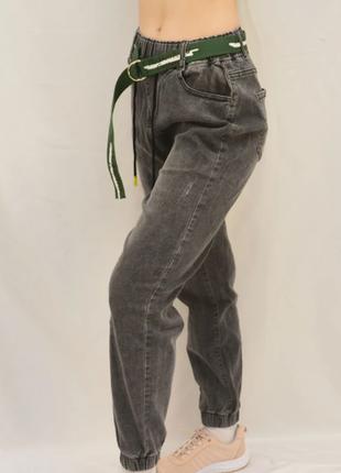 Джинсы мом, джеггинсы мом, джинсовые джоггеры, джинсы на манжете р-р с 46 по 56
