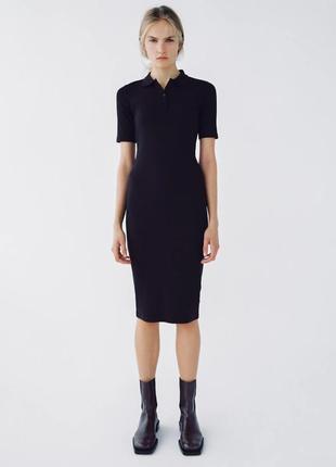Трикотажное платье в рубчик из органического хлопка с воротником поло( polo)- zara
