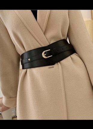 -5️⃣0️⃣% ремень женский широкий эко-кожаный черный массивный ремень-корсет