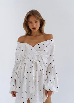 Платье на запах с рукавом фонарик лен