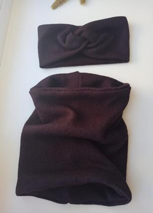 Комплект теплая повязка на голову чалма снуд труба хомут в один оборот бафф