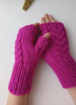 Митенки варежки без пальцев пушистые перчатки для девочек