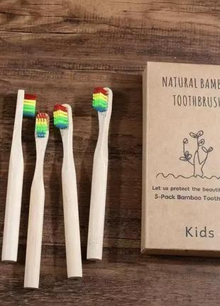 Детская бамбуковая зубная щетка радуга радужная экологичная