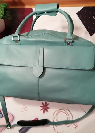 Дорожная сумка marks&spencer, 100% натуральная кожа, цвет-бирюза