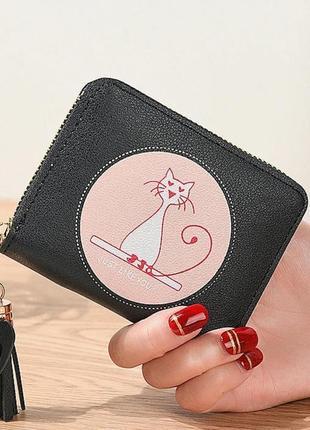 Кошелек портмоне маленький женский детский для девочки черный черный эко кожа  pink cat