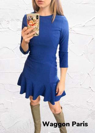 Коктейльное синие платье