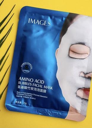 Очищающая пузырьковая маска на тканевой основе с углем