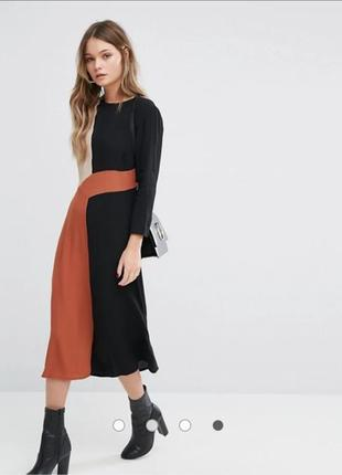Стильное натуральное миди платье длинный рукав елегантна сукня