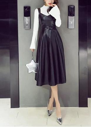 Кожаное платье миди, кожаный облягающий сарафан