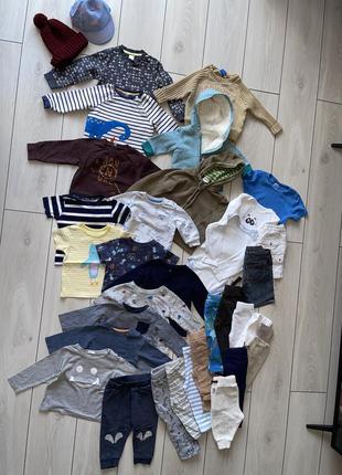 Пакет вещей бодик свитшот реглан штаны 0-18